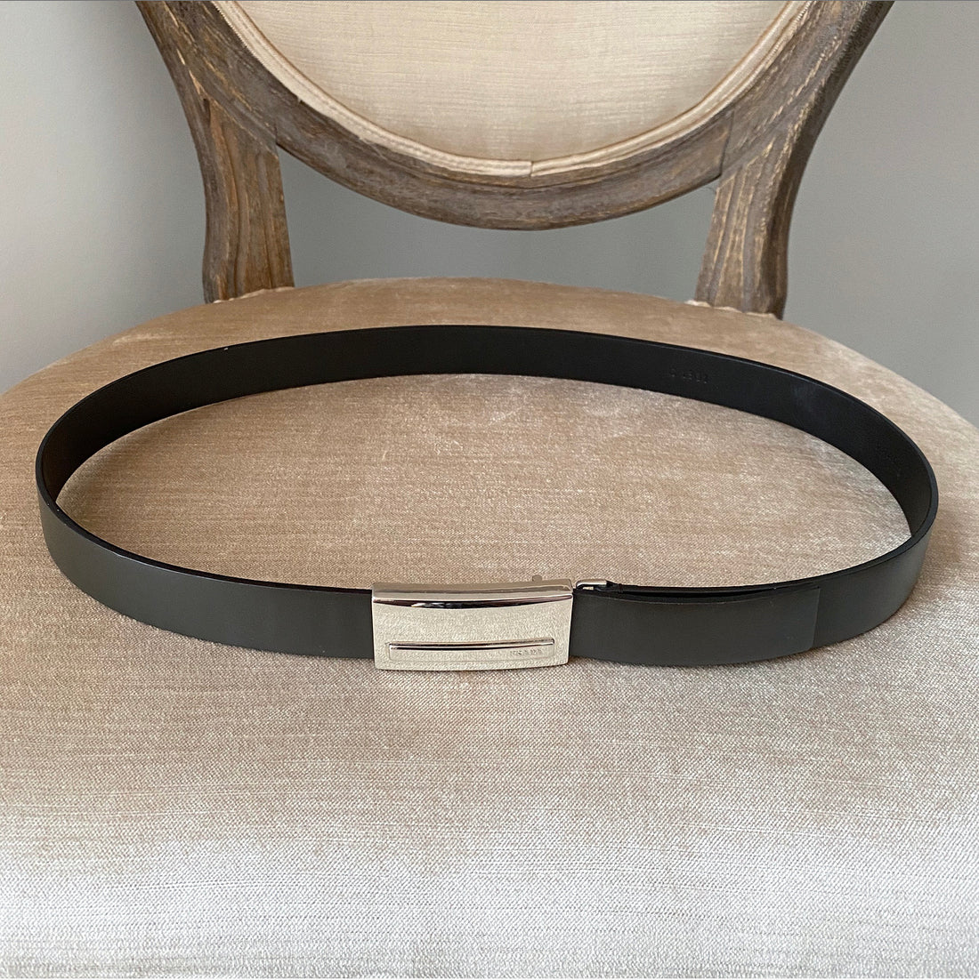 Prada Circa early 2000's Brown Leather Square Buckle Belt - 75 / 30