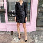 Rotate by Birger Christensen Black Satin Puff Sleeve Cocktail Dress - FR38 / 6