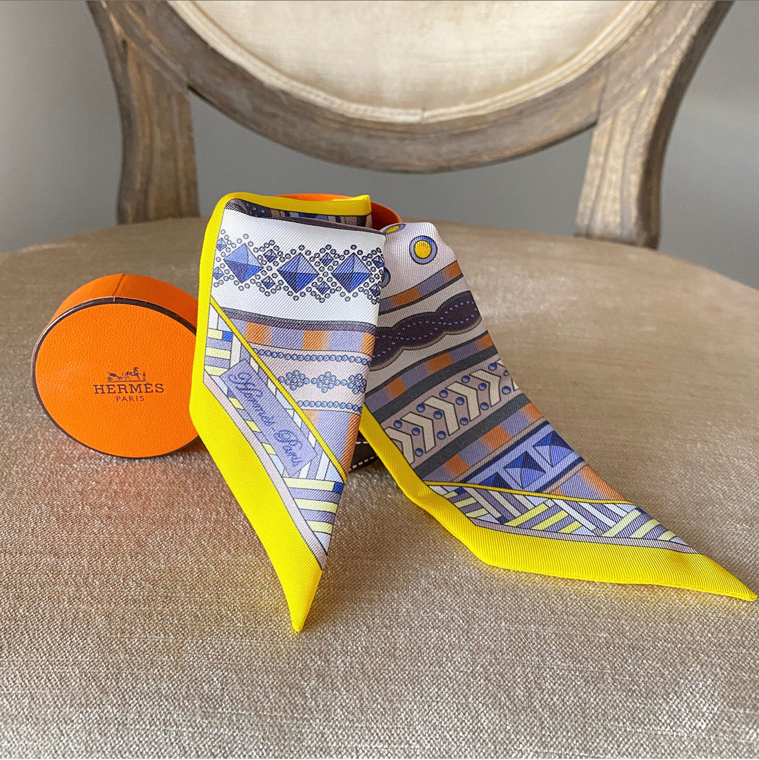 Hermes Yellow Blue White Dark Purple Silk Twilly