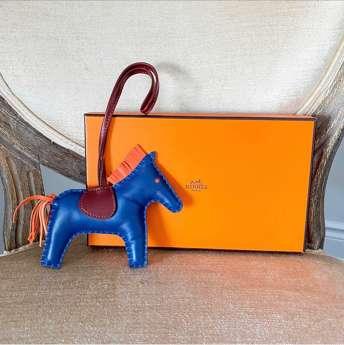 Hermes MM Rodeo Horse Birkin Charm in Navy Coral Burgundy