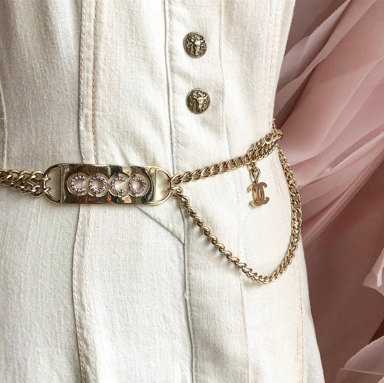 Chanel Vintage 2002 Coco Pink Rhinestone and Gold Chain Belt