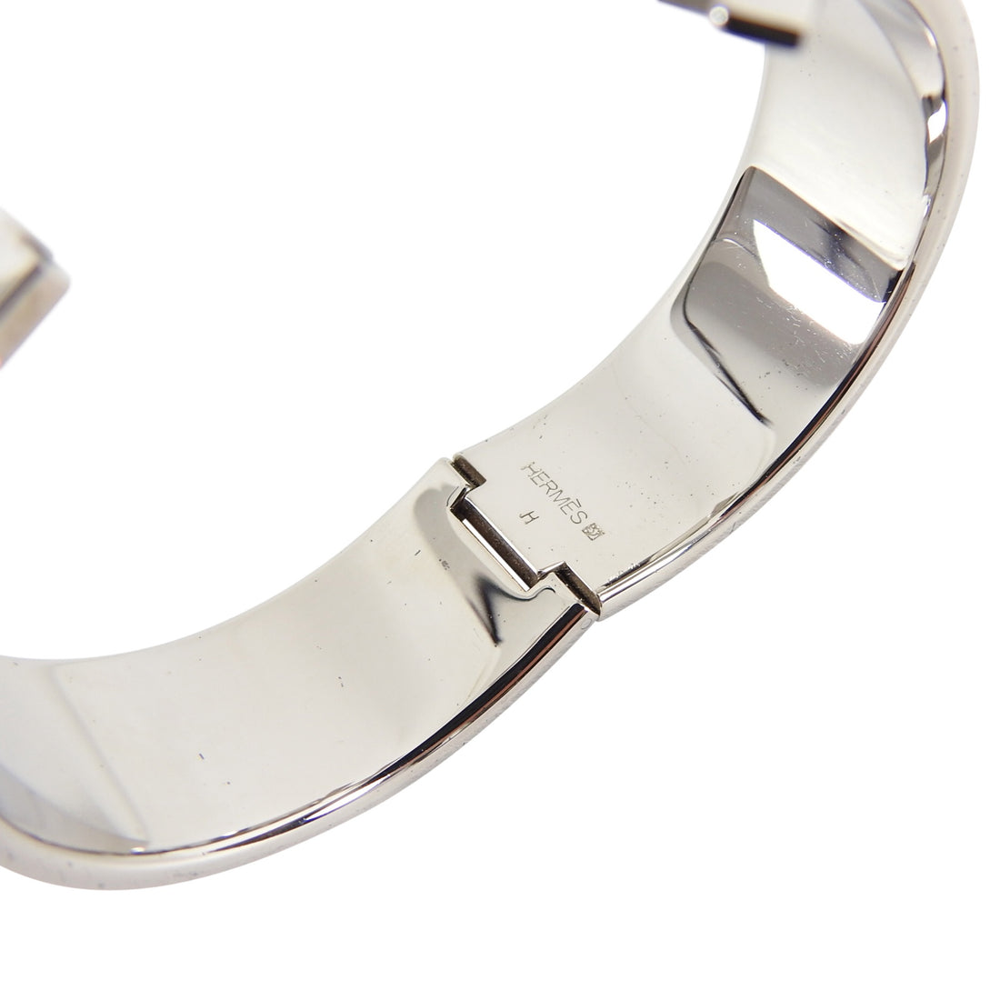 Hermes Red and Silver Clic Clack H Bangle Bracelet