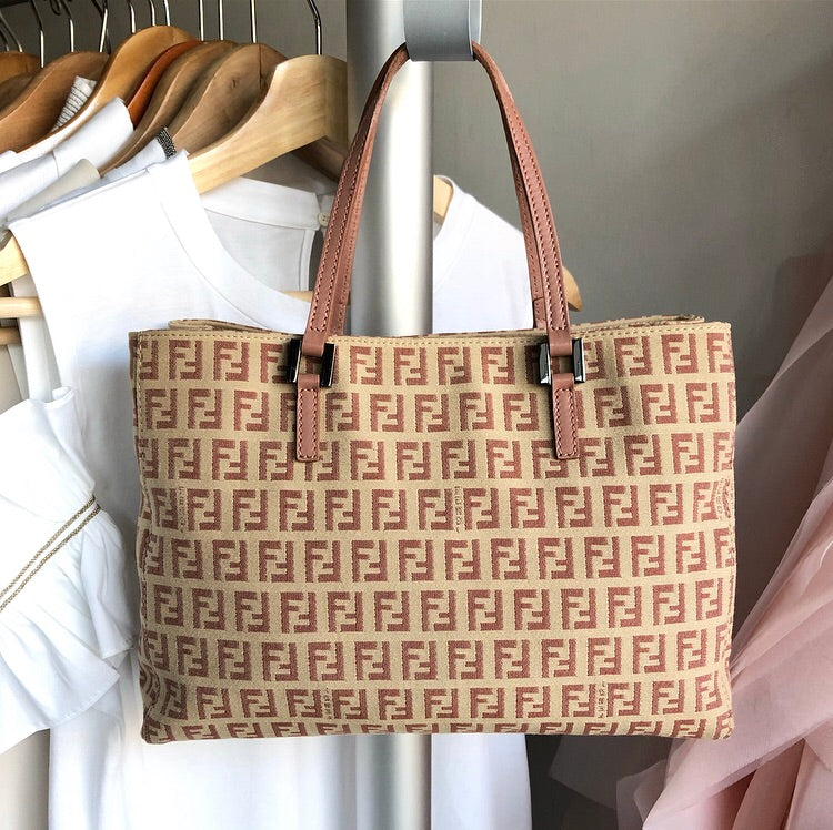 Fendi Zucca Small Pink and Beige FF Logo Tote Bag