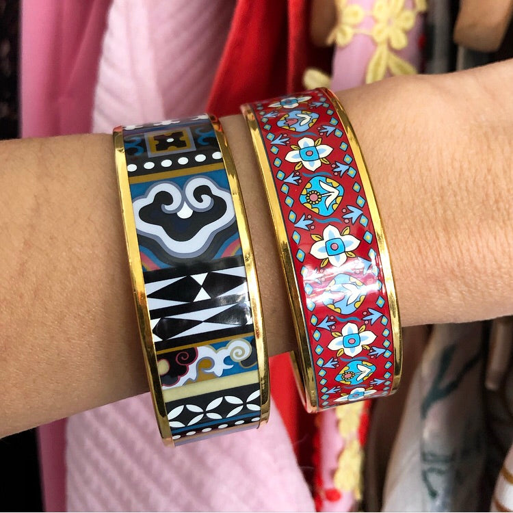 Hermes Red Floral and Gold Printed Enamel Wide Bangle Bracelet