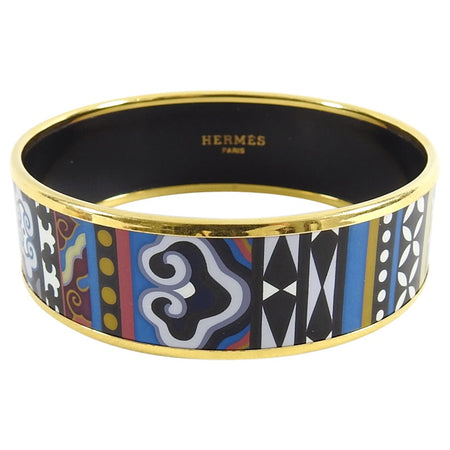 Hermes Blue Geo Gold Printed Enamel Wide Bangle Bracelet