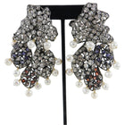 Iradj Moini Crystal and Pearl Segmented Statement Earrings