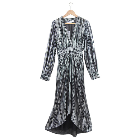 IRO Eureka Silver Metallic Stripe Asymmetrical Hem Dress - S