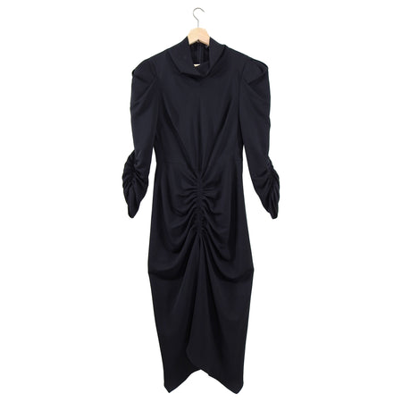 Isabel Marant Black Puff Sleeve Ruched Tizy Dress - FR38 / 6