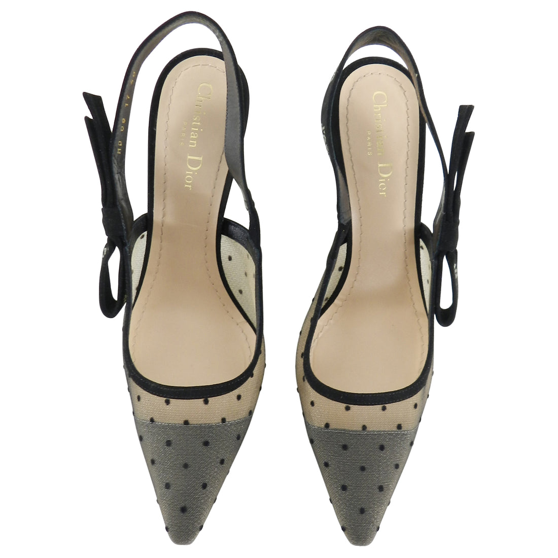 Dior J'Adior Limited Edition Crystal Dotted Mesh Slingback Heels - 40