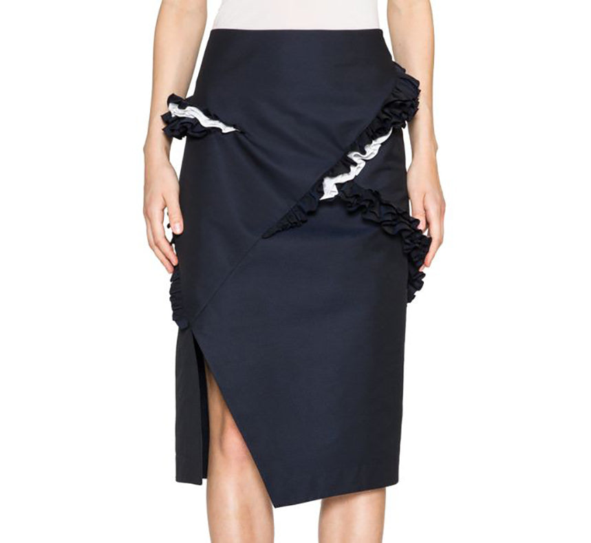 Jil Sander Acacia Navy Ruffled Pencil Skirt