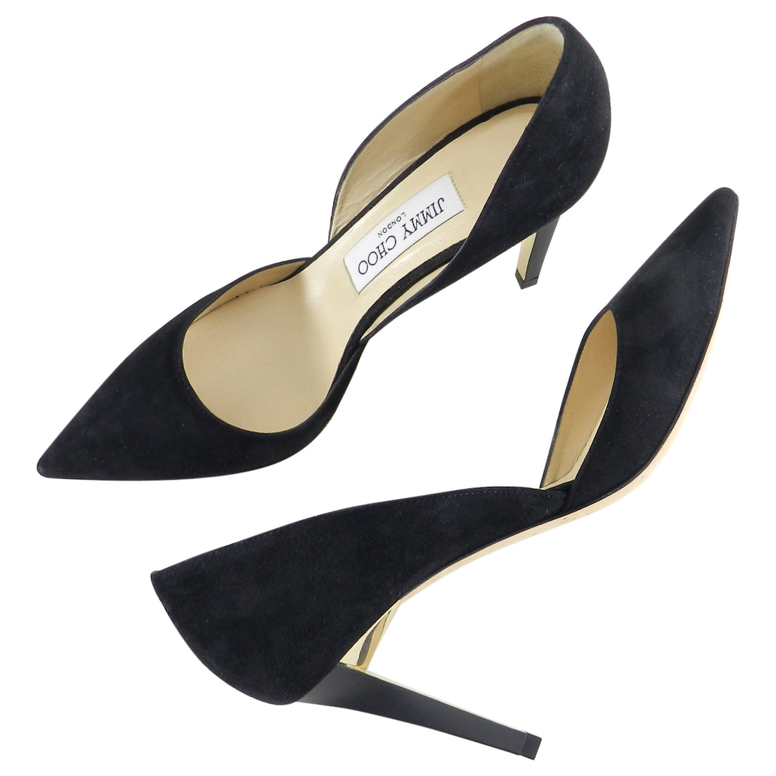 Jimmy Choo Black Suede Pumps with Gold Heel - 36.5