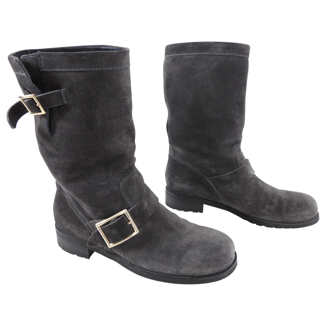 Jimmy Choo Grey Charcoal Suede Biker Boots - 38.5 / USA 8