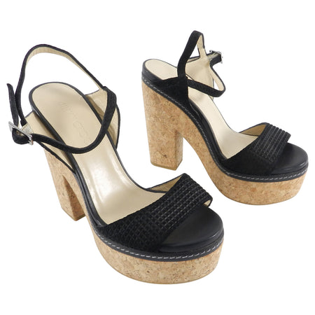 Jimmy Choo Naylor Black Embossed Suede and Cork Platform Sandals - 40