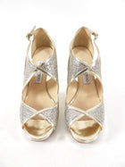 Jimmy Choo Gold and Silver Sparkle Heels - 37