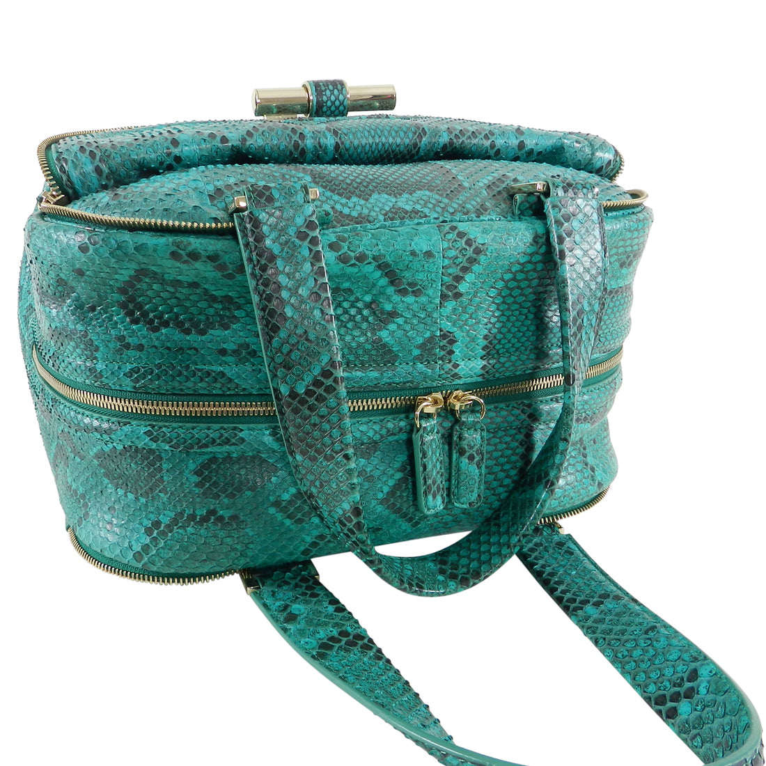 Jimmy Choo Green Python Justine Large Hand Bag