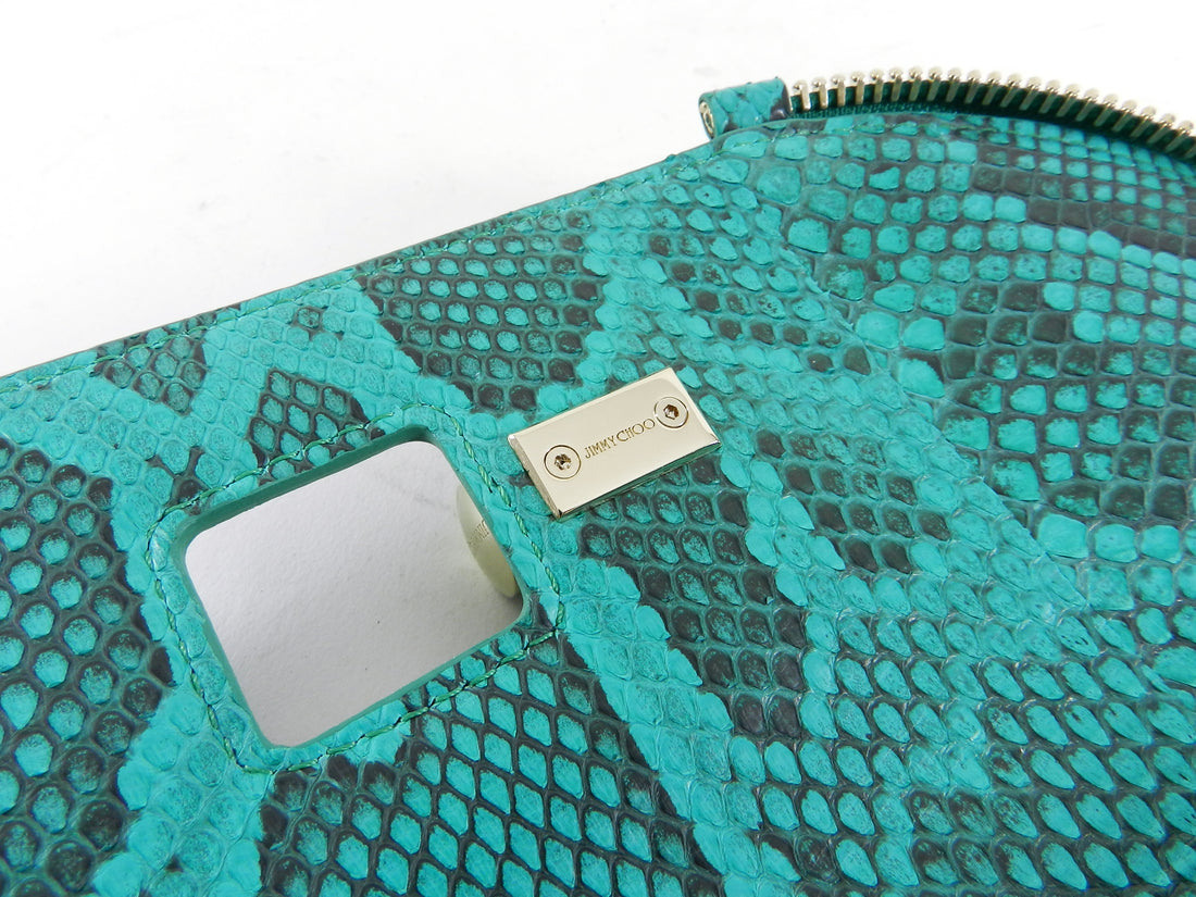 Jimmy Choo Green Python Jasmine Clutch Bag