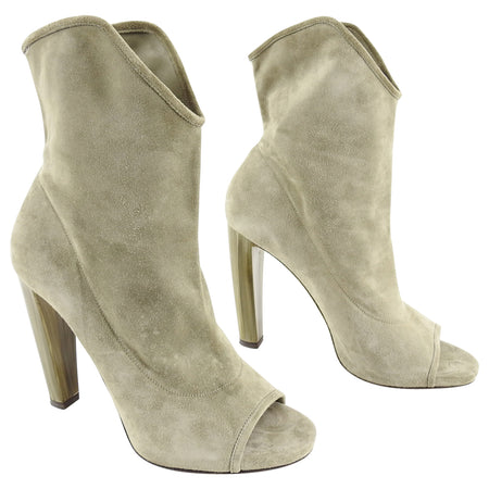 Jimmy Choo Open Toe Maja Suede Ankle Boots with Marbled Heels - 40