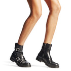 Jimmy Choo Black Leather Hank Flat Jewel Buckle Ankle Boots - 5.5