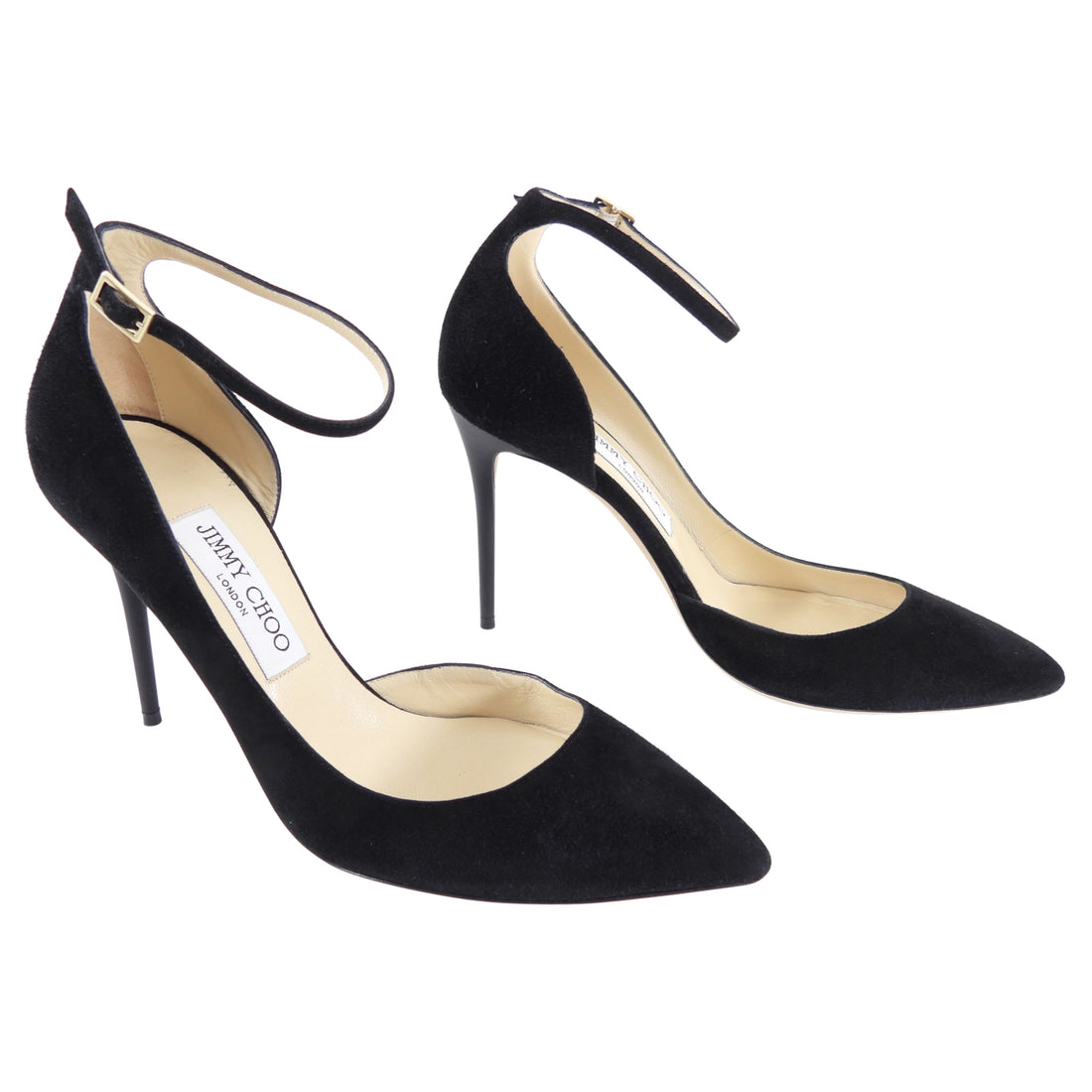 Jimmy Choo Black Suede High Heels with Ankle Strap - 38 / 7.5