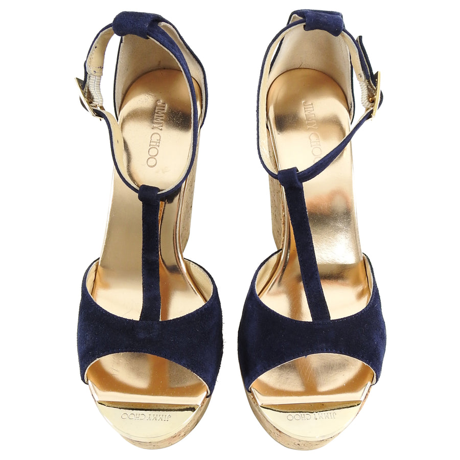 Jimmy Choo Navy Suede and Cork Pela Wedge Shoes