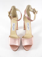 Jimmy choo Pink Satin Platform Jewel Buckle Heels - 38.5