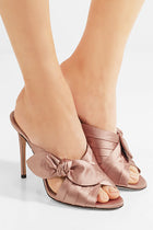 Jimmy Choo Antique Rose Pink Satin Bow Keely 100 Mules - 40