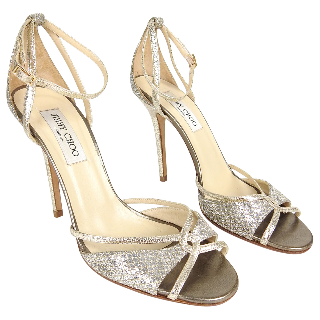 Jimmy Choo Silver Glitter and Gold Mesh Strappy Sandals - 39.5