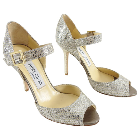 Jimmy Choo Champagne Silver Glitter Lace Mary Jane Heels - 35