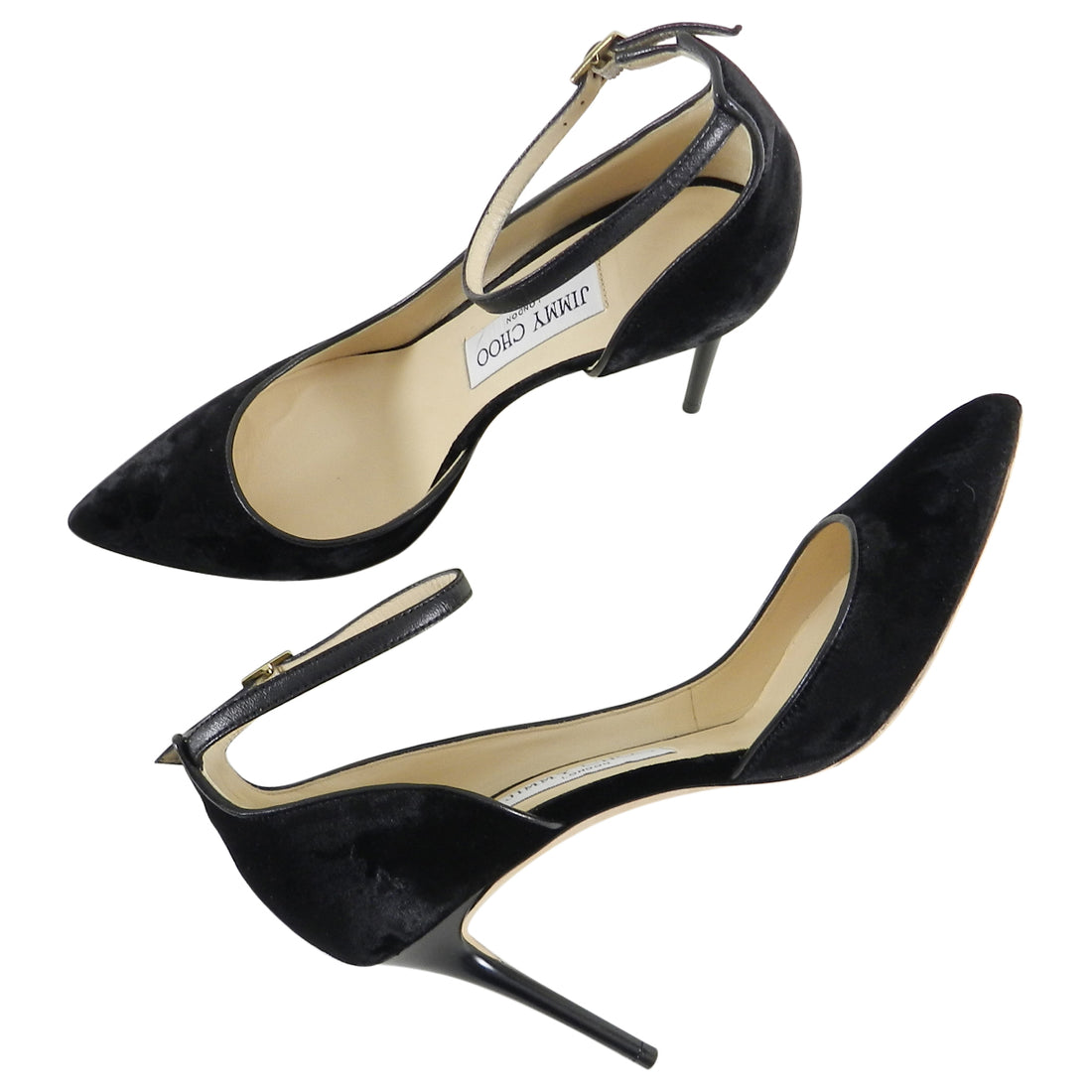 Jimmy Choo Black Velvet Lucy 85mm Heels with Ankle Straps - 36