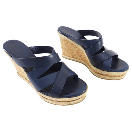 Jimmy Choo Navy Leather Cork Wedge Sandals - 40.5