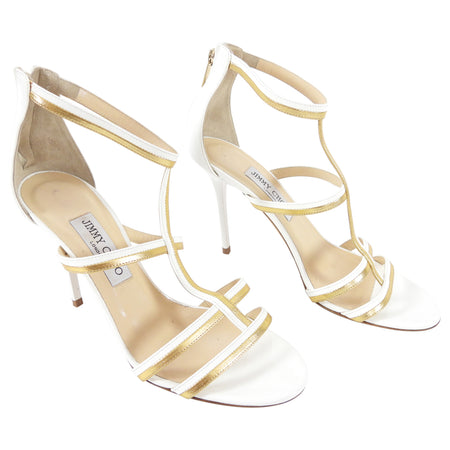 Jimmy Choo White and Gold Strappy High Heel Sandals - USA 9.5