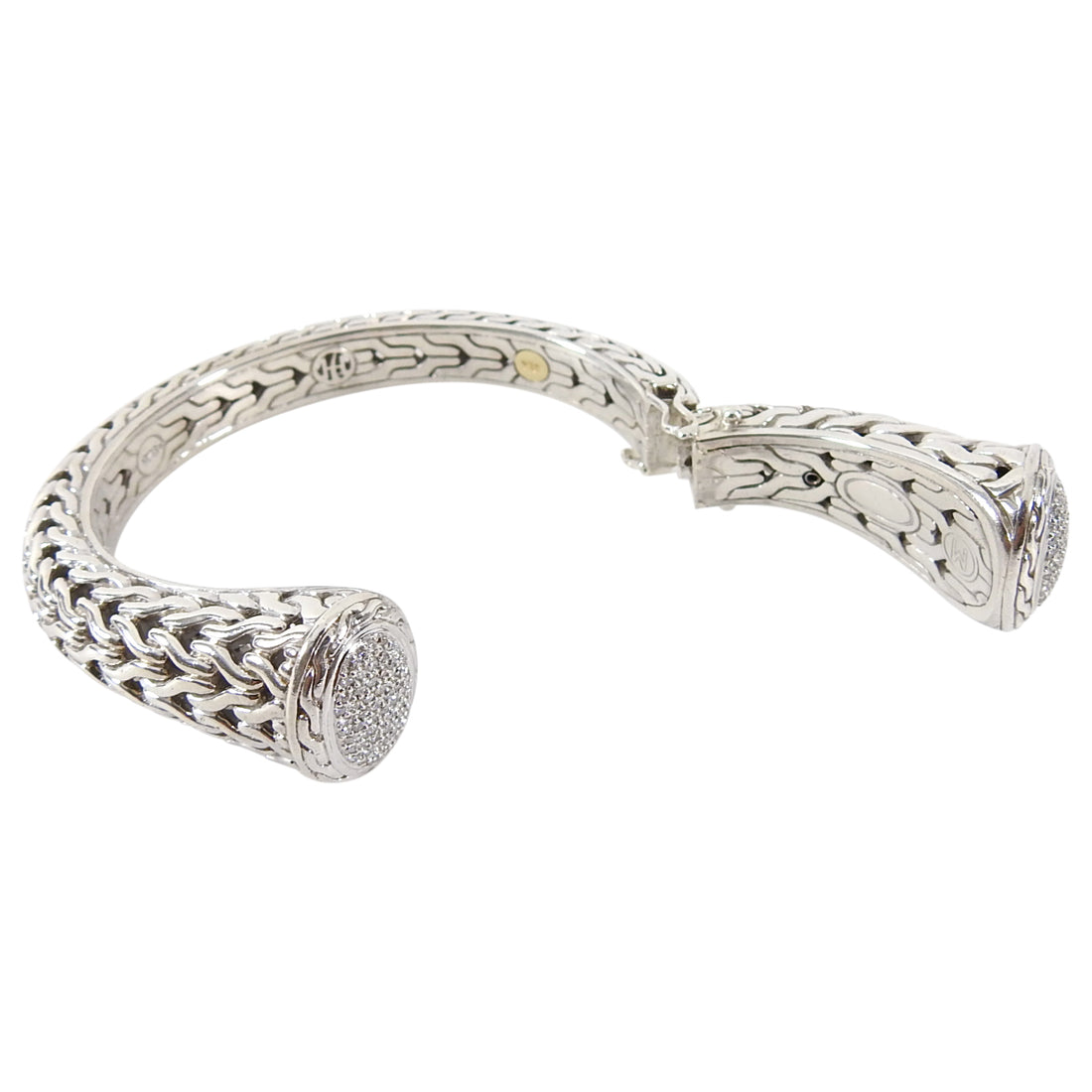 John Hardy 18k and Sterling Pave Diamond Classic Chain Kick Cuff Bracelet