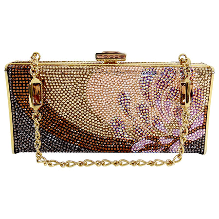 Judith Leiber Multi flower Crystal Small Gold Minaudiere Box Evening Bag