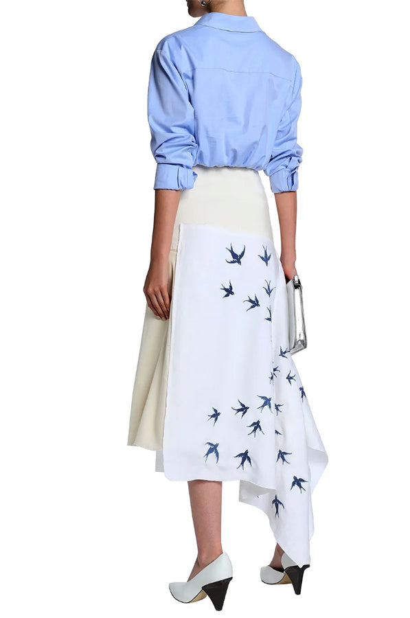 JW Anderson Ivory Linen Asymmetrical skirt with Blue Bird Embroidery - USA 8