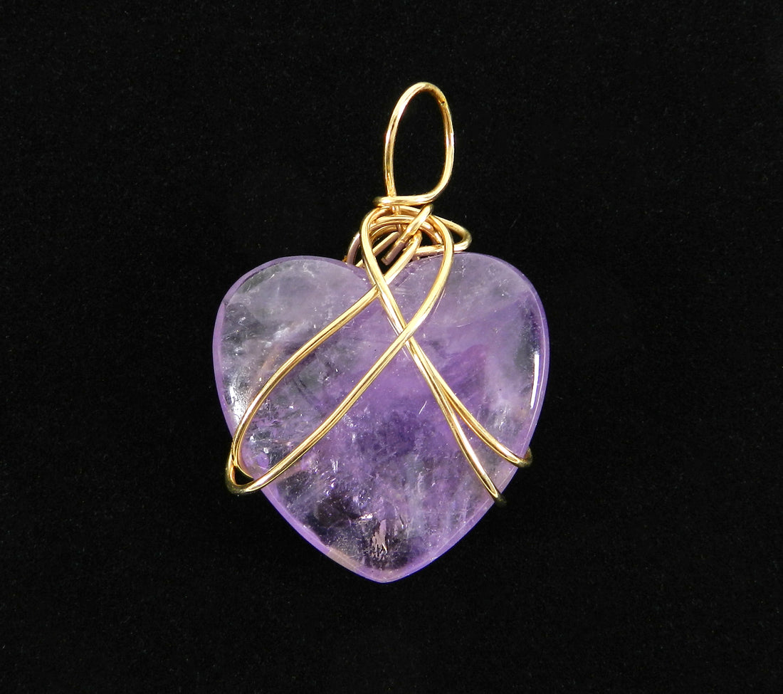 Kazuko Oshima 14K Gold-filled Wire and Purple Amethyst Heart Pendant