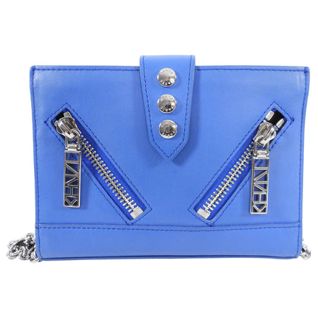 Kenzo Blue Leather Small Crossbody Wallet on Chain