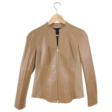 Lafayette 148 Light Brown Leather Zip Up Jacket - XS