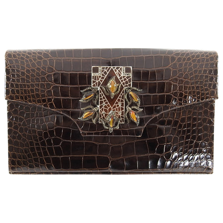 Vintage Dark Brown Crocodile Art Deco Jewelled Evening Bag