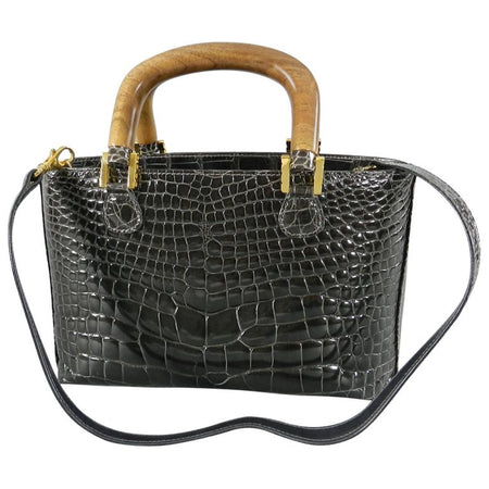 Lana Marks Dark Grey Crocodile Bag with Wood Handles