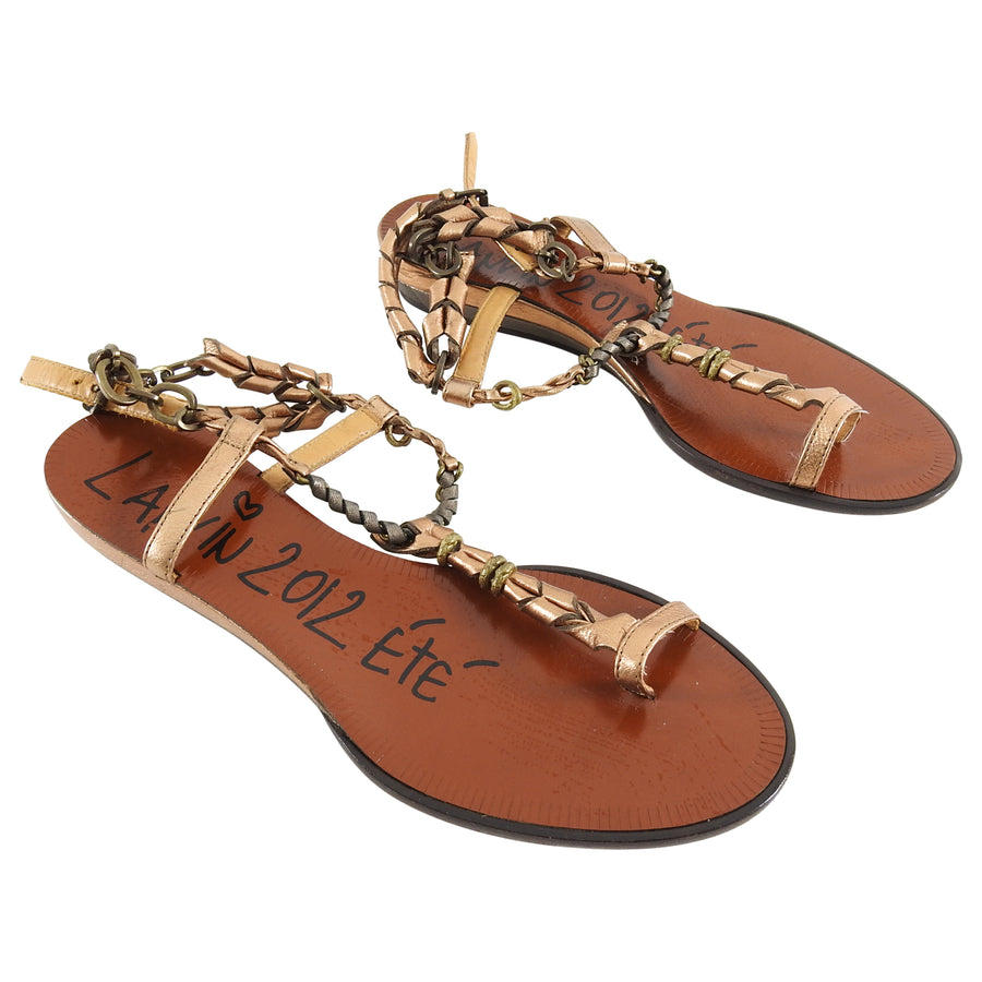Lanvin Spring 2012 Flat copper Chain Strap Sandals - 37.5