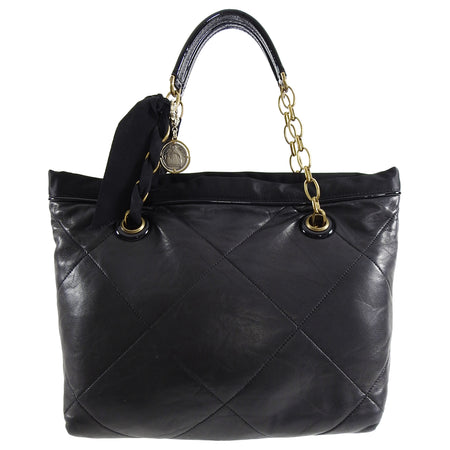 Lanvin Amalia Cabas Black Leather Chain Strap Medium Tote Bag