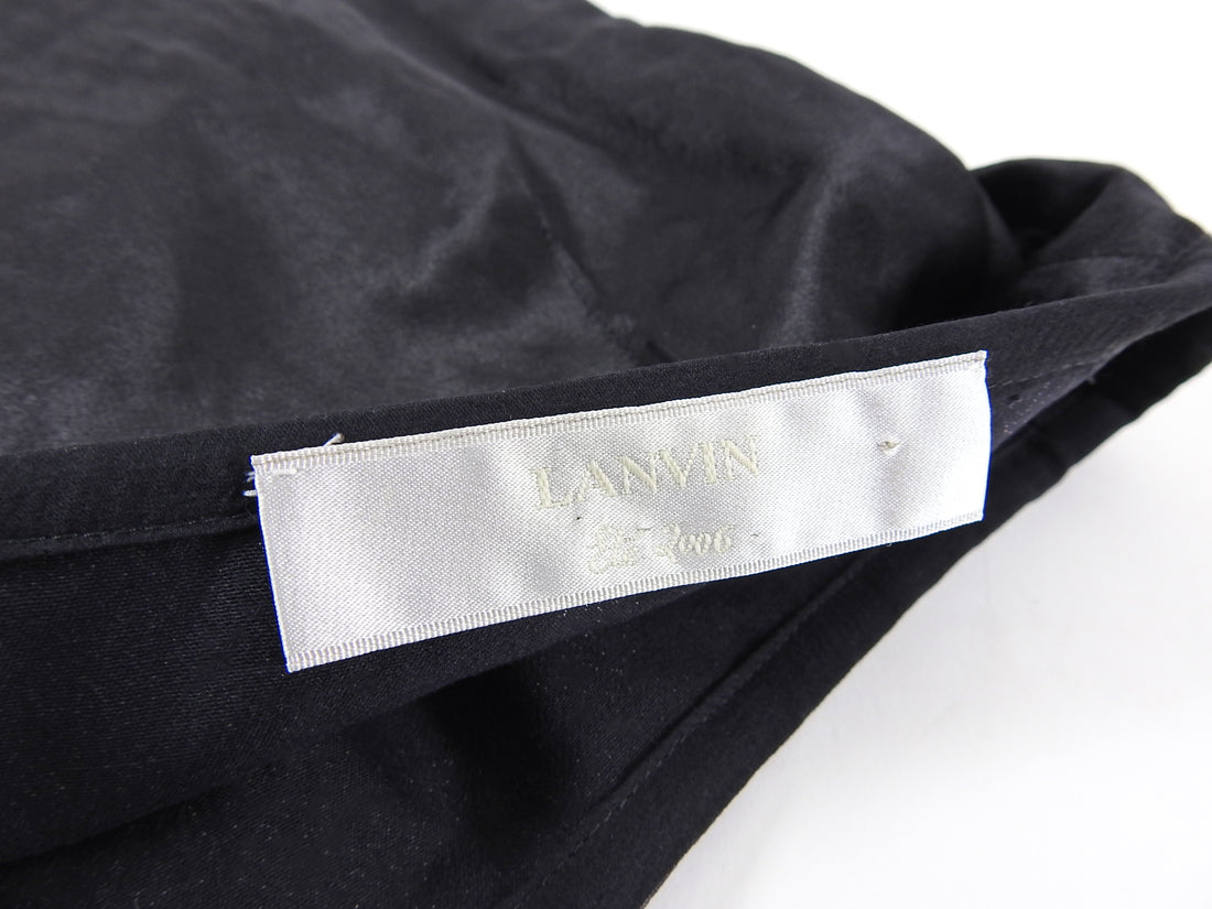 Lanvin Black Satin Wrinkle Pencil Skirt with Silk Hem - FR36 / 4