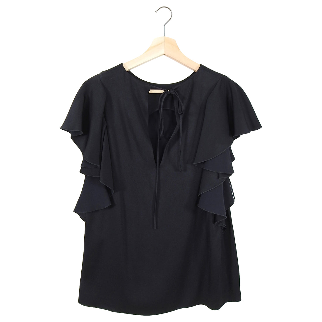 Lanvin Black Ruffle Sleeve Rayon Top - FR38 / 6