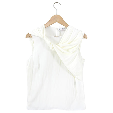 Lanvin Ivory Twist Sleeveless Crinkled Caddy Top - 38 / 6