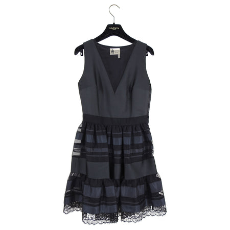 Lanvin Black Silk Sleeveless Lace Trim Cocktail Dress - 36 / 4