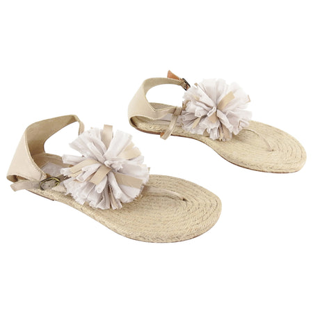 Lanvin Ivory Silk Satin Flat Espadrille Sandals with Pom Pom - 38.5 / 8