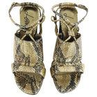 Lanvin Gold Snake Print Sandal with Chain Strap - 37
