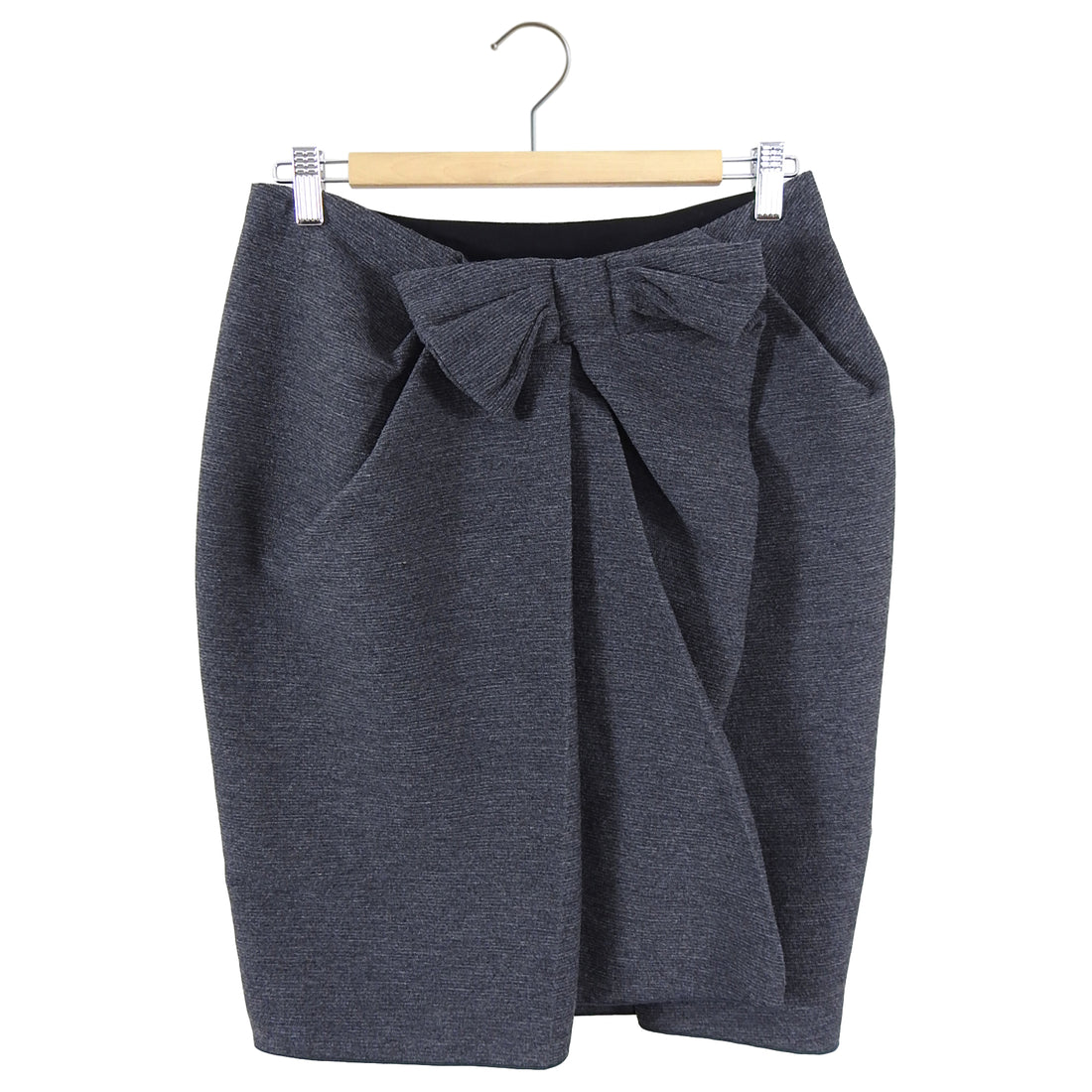 Lanvin Fall 2014 Grey Wrap Bow Detail Skirt - FR38 / 6