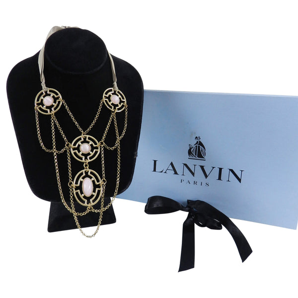Lanvin Gold and Pink Bib Necklace with Ribbon Ties