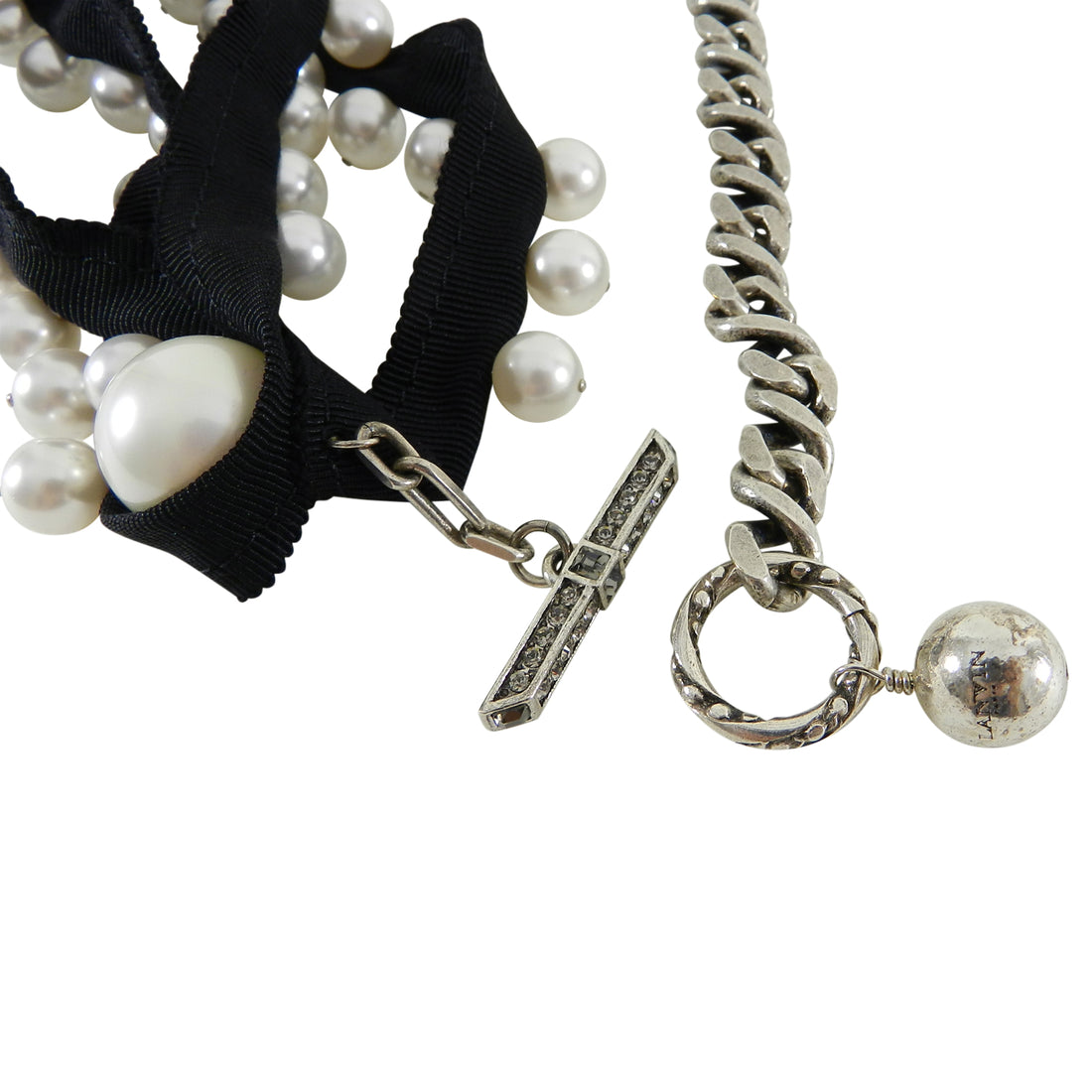 Lanvin Pearl and Ribbon Chain Necklace with Rhinestones